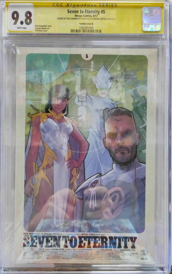 CGC SEVEN TO ETERNITY #5 VARIANT SIGNED BY REMENDER & OPENA 9.8