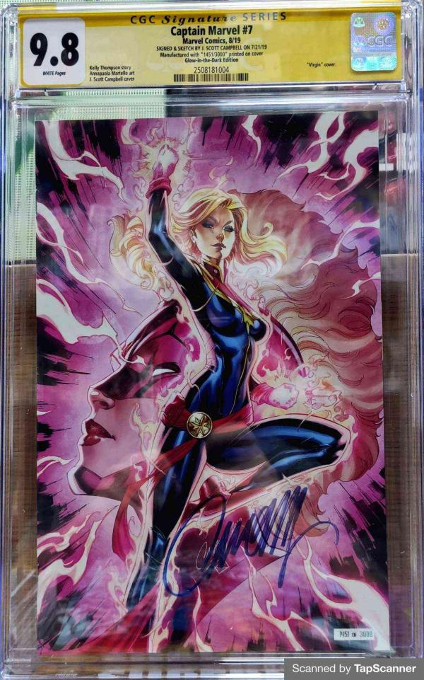 CGC CAPTAIN MARVEL #7 CAMPBELL GLOW IN THE DARK SDCC 2019 VAR 9.8
