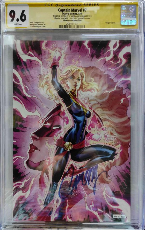 CGC CAPTAIN MARVEL #7 CAMPBELL GLOW IN THE DARK SDCC 2019 VAR 9.6