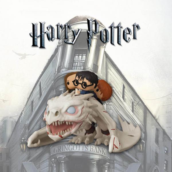 Harry, Hermione & Ron Riding Gringotts Dragon