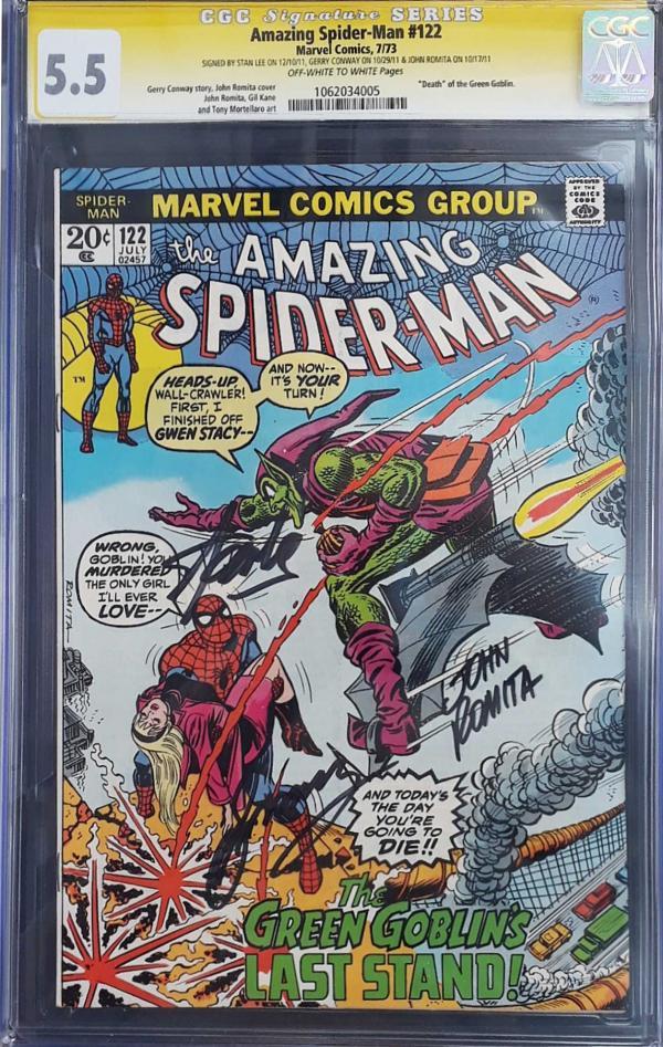AMAZING SPIDER-MAN #122 SIGNED STAN LEE, GERRY CONWAY & JOHN ROMITA 5.5