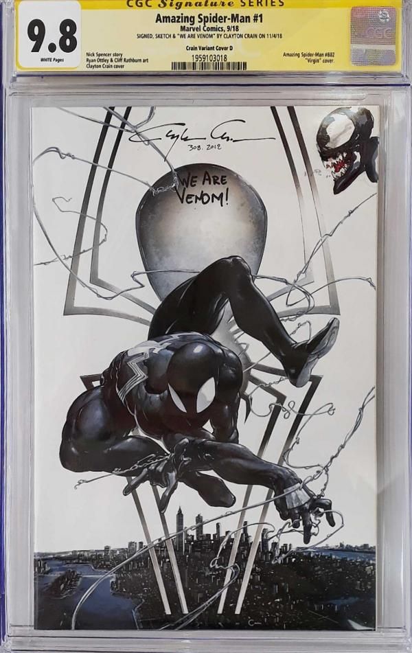 AMAZING SPIDER-MAN #1 CLAYTON CRAIN VAR SIGNED AND SKETCHED 9.8